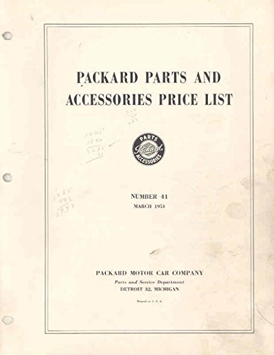 1951 Packard Number 41 Parts List for sale  Delivered anywhere in USA