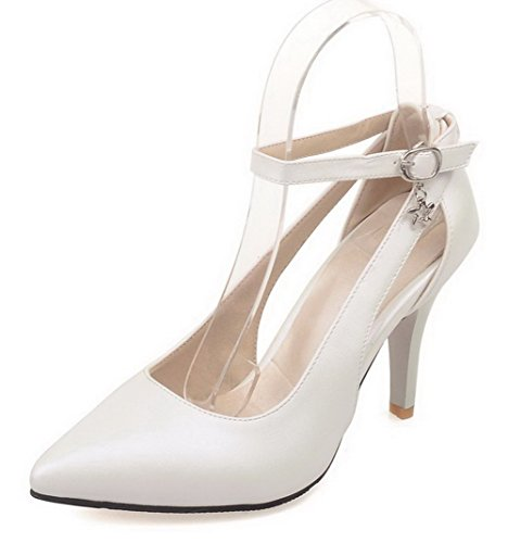 AgooLar Damen Rein PU Hoher Absatz Spitz Zehe Schnalle Pumps Schuhe, Weiß, 40