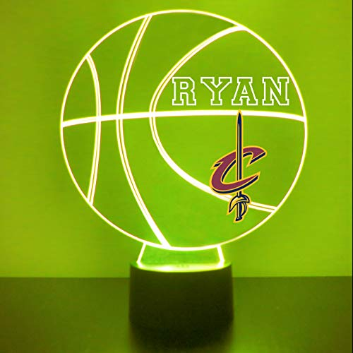 (Cleveland Handmade Acrylic Personalized Cavaliers NBA NBA Basketball LED Night Light - Remote, 16 Color Option, Great Personalized Gift, Engraved)