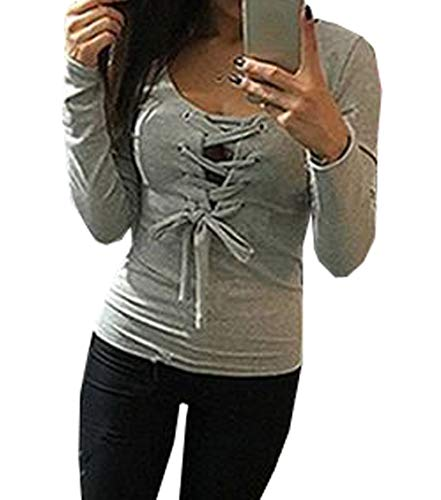Jumpers Col Blouse Printemps V Slim Shirts Fashion Top Chemisier Bandage Gris T Pulls Automne Tees et Hauts Femmes gwqpa4H