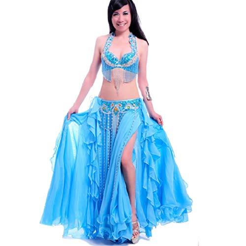 s Divisé Performance Strass jupe Femmes Du Wqwlf Face gorge 3 ceinture De Pièces Avec Ventre Tenues Polyester Soutien Des Danse Blue trdhsQC