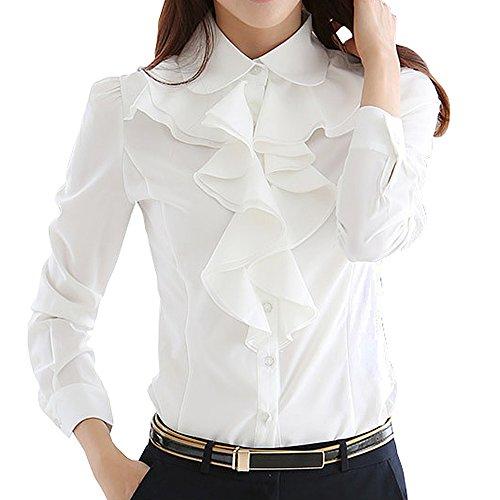 Ruffle Chest (Y&Z Women's Shirts Lotus Ruffle Vintage Long Sleeve BS15 (M, White))