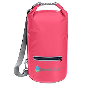 DrySak Premium Waterproof Dry Bag with Exterior Zip Pocket | Keeps Gear Safe & Dry During Watersports & Outdoor Activities | Rugged 500D PVC with Shoulder Strap & Reflective Trim | 10L Pink