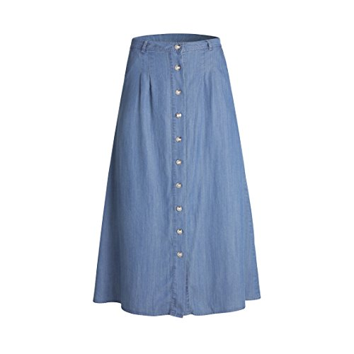 Tronjori Womens A Line Maxi Long Lightweight Tencel Denim Skirt with Button Front(S, Blue Button Front)