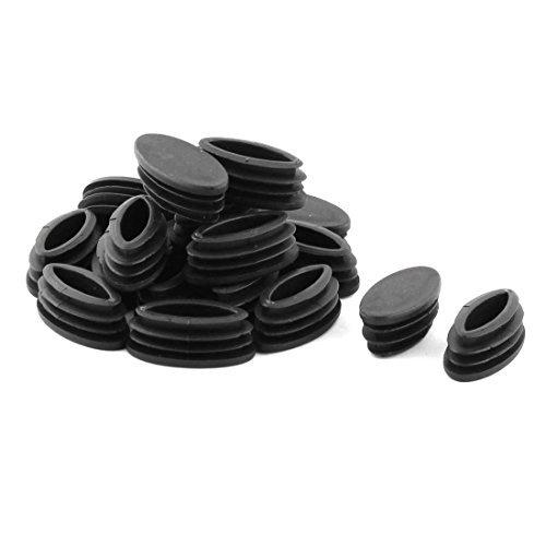 Pies para sillas de mesa de plástico DealMux parte del tubo oval inserto de tubo de 20 x 40 mm 20 piezas Negro