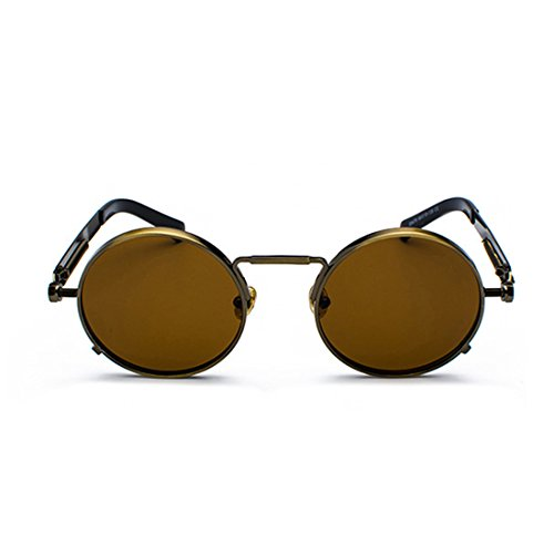 gafas de redondas de gafas Marrón vintage Yefree primavera metal Gafas las ovales de señoras wXnPSnB5qx