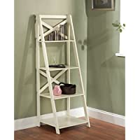 Antique White 4-tiered X-shelf Ladder Case Fashionable and Functional, Modern Lines Are Enhanced with an X-back That Adds Both Visual Appeal and Structural Support to the Design