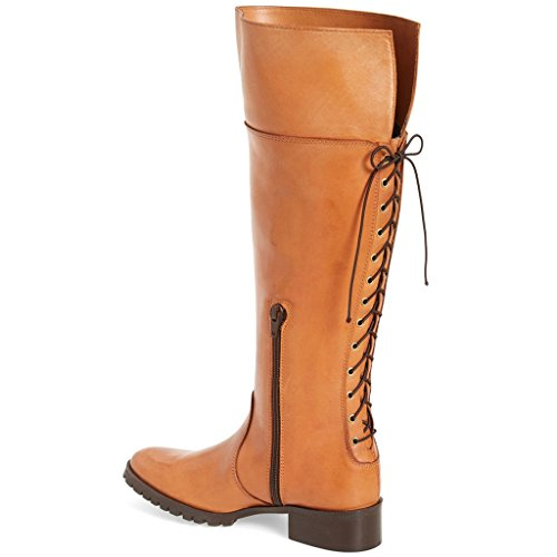 Up with Low Heel high US Women Shoes Side Knee Boots 4 Size Comfrotable Lace Brown Zippers for 15 FSJ HzwqYEn