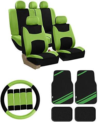 FH Group FB030115 Light & Breezy Cloth Seat Covers Full Set (Green w. F14501 Carpet Floor Mats – Universal Fit for Cars Trucks & SUVs