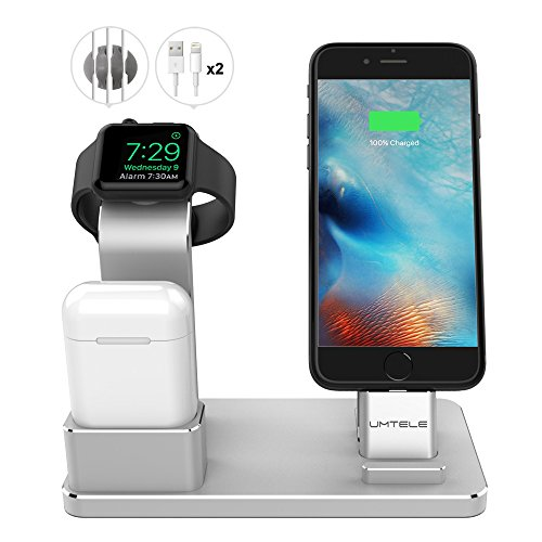 UMTELE-Compatible-with-Apple-Watch-4-Stand-Aluminum-Apple-Watch-Charging-Dock-Airpods-Stand-iPhone-Dock-Holder-for-iWatch-Series-43-21-AirpodsiPhone-X-88-Plus-77-Plus-6S-iPad-Silver