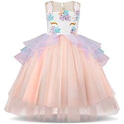 TTYAOVO Kids Unicorn Costume Dress Girl Princess Flower Pageant Party Tutu Dresses Size 7-8 Years Pink