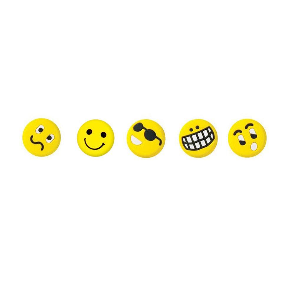 geshiintel 5PCS Portable Divertente Rotondo Emoji Face Racchetta da Tennis Silicone Ammortizzatore–Random Style