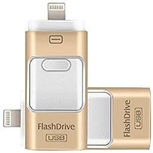 128GB iPhone USB Flash Drive, iPad Memory Stick, iOS External Storage Expansion for iOS Android PC Laptops (Gold)