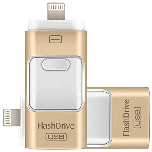 128GB iPhone USB Flash Drive, iPad Memory Stick, iOS External Storage Expansion for iOS Android PC Laptops (Gold) Extra Memory
