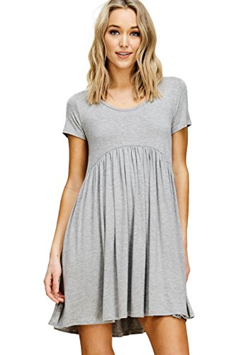 Pleated Empire - Annabelle Women's Plus Size Short Sleeve Scoop Neck Pleated Empire Waist Mini Dress with Pockets Heather Grey X-Large D5419