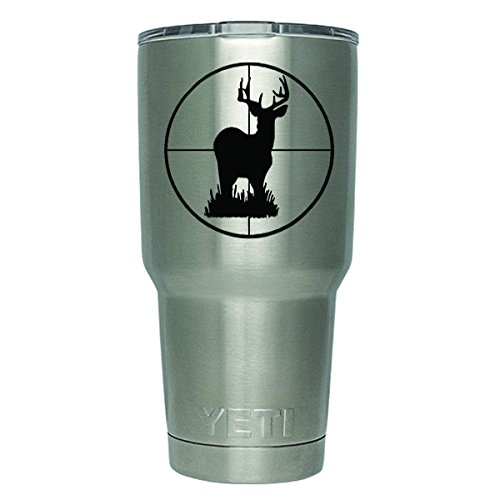 DD375 2-Pack Deer Hunting Decal Sticker (Decal ONLY Cup NOT Included) | 3 Inches | Premium Quality Black Vinyl | Yeti RTIC Orca Ozark Trail Tumbler Decal