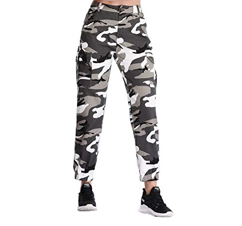 - Womens Camouflage Camo Pants Sweatpants Cargo Trousers High Waist Casual Streetwear Multi-Pockets Jogger Pants (Gray, Large)