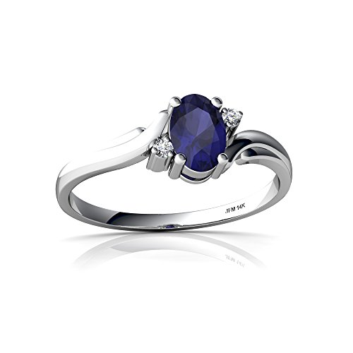 14kt White Gold Sapphire and Diamond 6x4mm Oval Swirls Ring - Size 7 ()