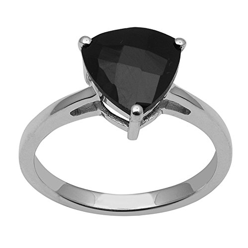 4.8 Carat Triangle Black Spinel 925 Sterling Silver Women Casual Ring Trillion Rhodium Plated (6.5)