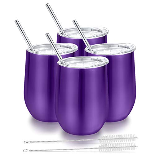 Insulated Wine Tumbler with Lid, Deedro 12 oz Double Wall Vacuum Insulated Wine Cup with Straws and Brushes, Stemless Stainless Steel Wine Glass for Champagne, Coffee, Drinks, 4 Pieces (Purple) -