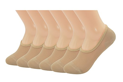 Women's Microfiber Nylon Low Cut No-show Mesh Liner Socks, Nude, Size 8-12.(6pp)