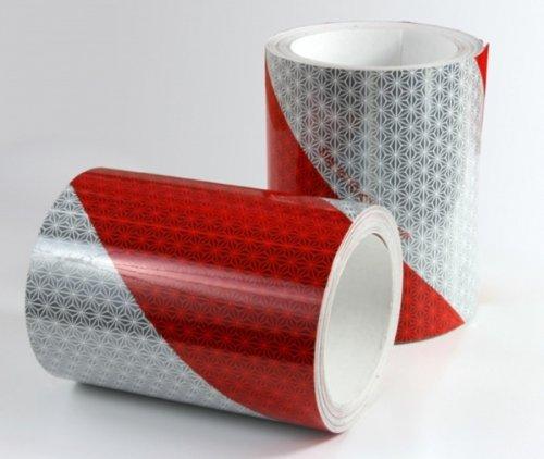Reflexite Bandes ré tro-ré flé chissantes auto-adhé sives Blanc/rouge, largeur 141 mm, 1 M, droit