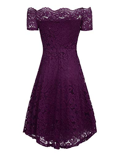 Off Women Purple ACEVOG Lace Dress Vintage Shoulder Cocktail Formal Sleeve Swing Short Floral Y77qrd