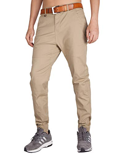 ITALY MORN Men's Chino Jogger Sweatpants Flat Front Casual Pants 34 Khaki