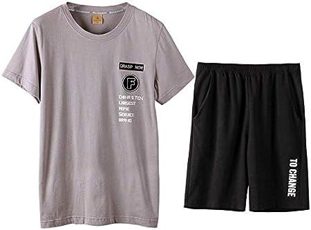 Pijama Establece Pijama Hombres del Verano Home Service Set algodón de Manga Corta Pantalones Cortos de Capa Delgada Puede Desgastar 2 Regalos Grey Pijamas (Color : Gray, Size : Large): Amazon.es: Hogar