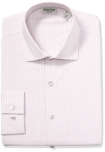 Kenneth Cole REACTION Men's Dress Shirt Technicole Slim Fit Check, Rose Quartz, 17