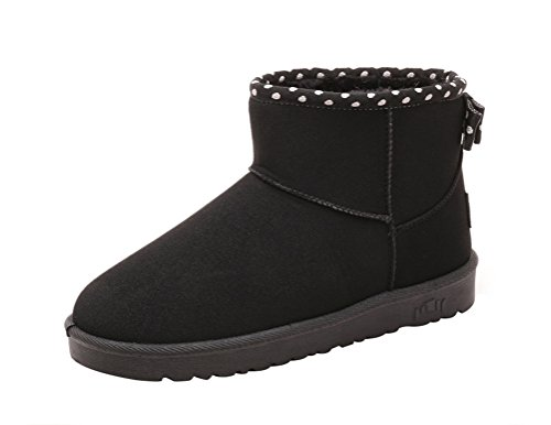 Passionow Women's Comfort Soft Fully Faux Fur Slip-ons Short Shoes Ankle Snow Boots (5.5 (Cute Construction Worker Costumes)