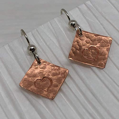 JANECKA Copper Earrings 1.25 Inch Length, Hand Forged Tiny Heart, 7th Anniversary Gift