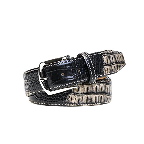 Ecru Vintage Twice Mock Croc Belt by Roger Ximenez: Bespoke Maker of Fine Leather Goods