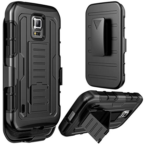 Galaxy S5 Active Case, S5 Active Holster Case By E LV - Full Body Hybrid Armor Protection for Samsung Galaxy S5 Active G870 with Backstand and Belt Swivel Clip with one Black Stylus - Black