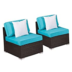 Garden and Outdoor Kinsunny 2 PCs Outdoor Furniture Add-on Armless Chairs for Expanding Black Wicker Sectional Sofa Set w Turquoise Thick… outdoor lounge furniture
