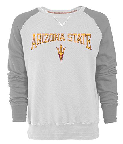 Camp David NCAA Arizona State Sun Devils Men's Sueded Fleece Crew Pullover, Medium, Ivory/Oxford
