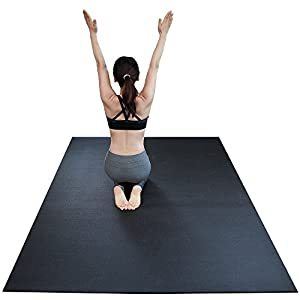 RevTime Extra Large Exercise Mat 8 x 5 feet (96″ x 60″ x 1/4″) 6 mm Thick & High Density Mat for Home Cardio and Yoga Workouts, Durable Gym Mat, Black