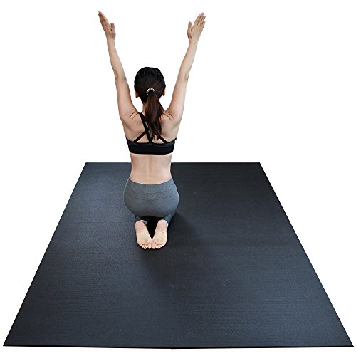 RevTime Extra Large Exercise Mat 8 x 5 feet 96 x 60 x 1 4 6 mm Thick High Density Mat for Home Cardio and Yoga Workouts, Durable Gym Mat, Black