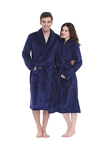1. XMASCOMING Fleece Robe Plush Long Spa Bathrobe