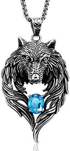 BBYaki Viking Wolf Kopf Männer Hängende Halskette, Retro Titan Stahl Intarsien Edelstein Mode Trend Strickjacke-Halskette Punk Style Persönlichkeit Einfacher Nordic Schmuck