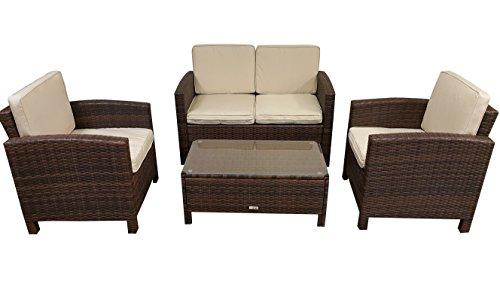Radeway 4 Piece Cushioned Furniture Set With Wicker Rattan Seat Sofa, Brown