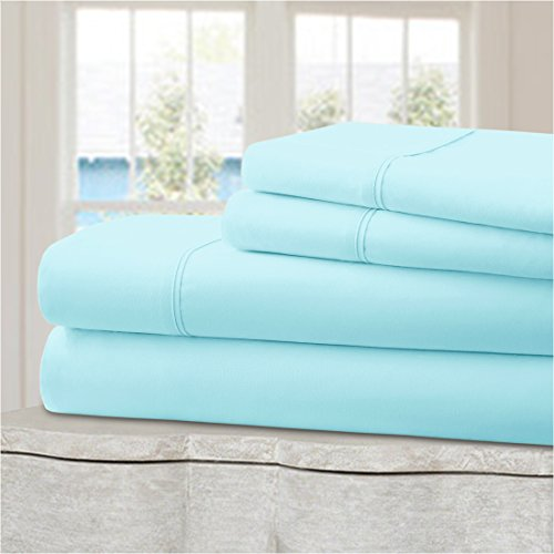 Ideal Linens Bed Sheet Set - Velvety Double Brushed Microfiber Bedding - Hotel Quality - Comfortable, Breathable and Soft - 4 Piece (King, Baby Blue)
