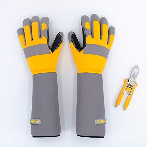 Jardineer Thornproof Rose Gloves Snip Set, Garden Gloves for Rose Pruning, Snug Gauntlet Gloves for Gardening & Yard Work, Hand Pruner for Trimming Flowers, Perfect Garden Gifts