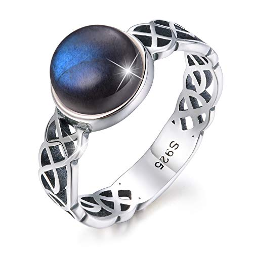Esberry 18K Gold Plating 925 Sterling Silver Celtic Knot Rings with Natural Stone Cross Rings for Women and Girls (Antique Silver-Labradorite, 8.5)