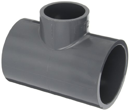 GF Piping Systems PVC Pipe Fitting, Reducing Tee, Schedule 80, Gray, 3