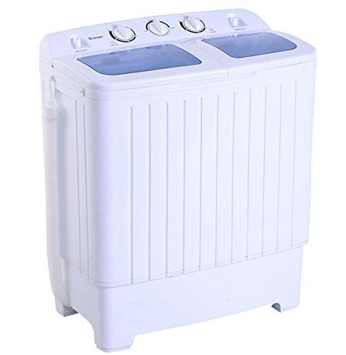 Apontus Portable Mini Compact Twin Tub 11Lb Washing Machine Washer Spin Dryer