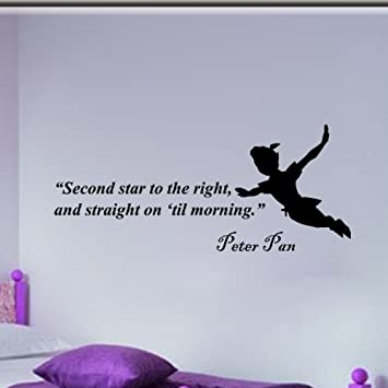 Amazon.com: Peter Pan Second Star to the Right Wall Quote Vinyl ...