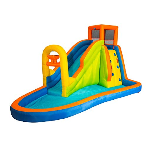 BANZAI Plummet Falls Adventure Inflatable Backyard Kids Water Slide and Pool