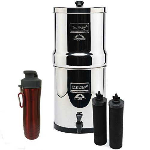 Big Berkey Stainless Steel Water Filtration System w/ 2 Black Filters and Berkey Stainless Steel Bottle - Red (2.1 Gallon (Big Berkey)) by Berkey