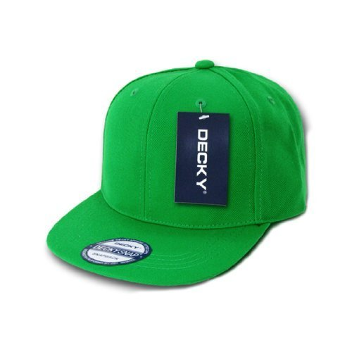 7d1b16ddd1a9f Decky Inc Vintage Flat Bill Solid Color Snapback Baseball Caps 350 Kelly  Green